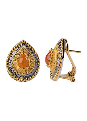 Серебряные серьги с бриллиантами и корнелианами