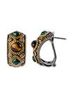 Серебряные серьги с тигровыми глазами и малахитом