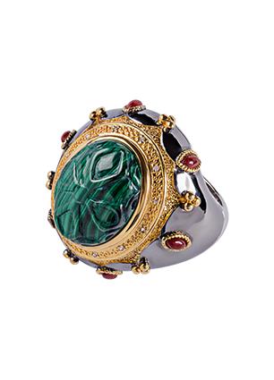 Серебряное кольцо с бриллиантами и малахитом