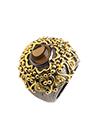Серебряное кольцо с дымчатыми и коньячными кварцами