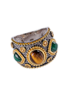 Серебряное кольцо с тигровым глазом и малахитами