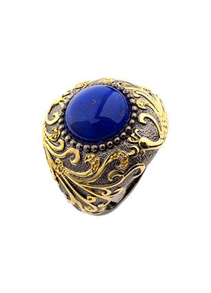 Серебряное кольцо с ляписом и бриллиантами -