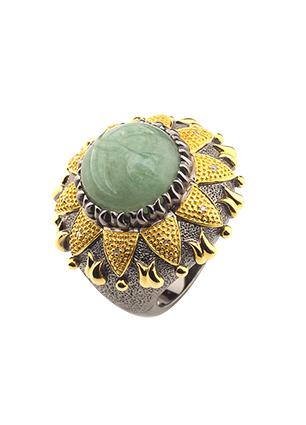 Серебряное кольцо с авантюрином и бриллиантами