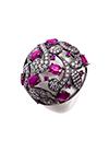 Кольцо с агатом, рубинами и фианитами