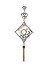 Кулон из позолоченного серебра с перламутром, ювелирной эмалью и фианитами