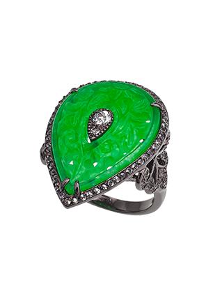 Серебряное кольцо с зеленым кварцем и топазами