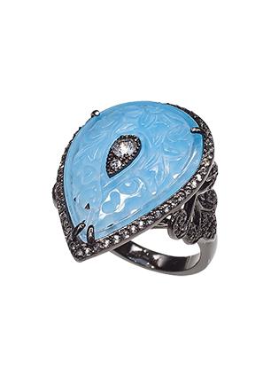 Серебряное кольцо с голубым кварцем и топазами