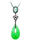 Кулон серебряный с зеленым кварцем и топазами
