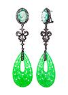 Серебряные серьги с зеленым кварцем и топазами
