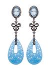 Серебряные серьги с голубым кварцем и топазами