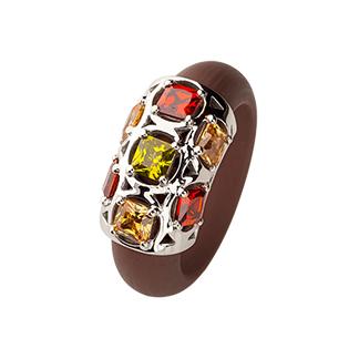 Кольцо из каучука с фианитами