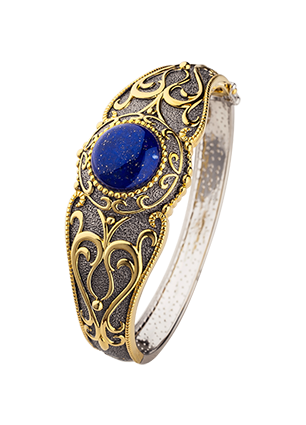 Bracelet with lapis and diamonds