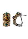 Silver earrings with Tiger eye and malachite