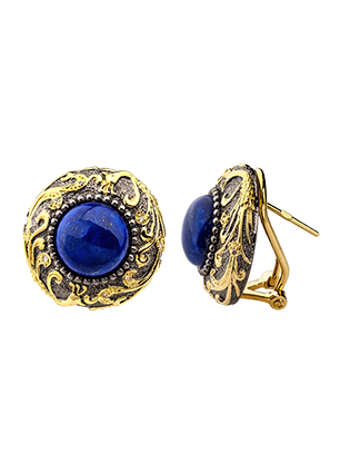 Silver earrings with lapis and diamonds