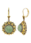 Silver earrings with aventurine and diamonds