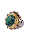 Silver ring with diamonds and malachite