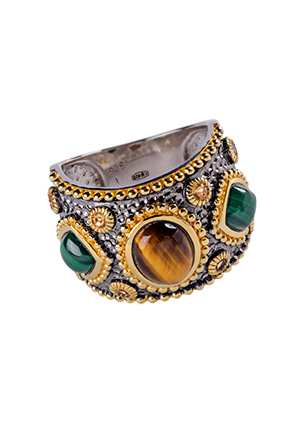 Silver ring with Tiger eye and malachite