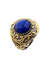 Silver ring with lapis and diamonds