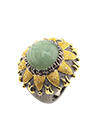 Silver ring with aventurine and diamonds