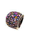 Silver ring with sapphires and cubic zirconia