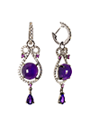 Earrings with amethyst, sapphires and cubic zirconia