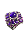 Ring with amethyst, sapphires and cubic zirconia