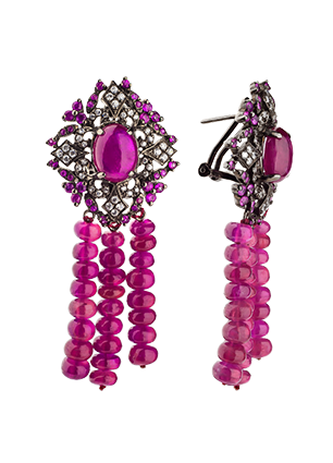 Earrings with rubies and cubic zirconia