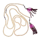 Necklace with rubies, pearls and cubic zirconia