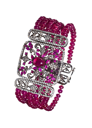 Silver bracelet with rubies and cubic zirconia