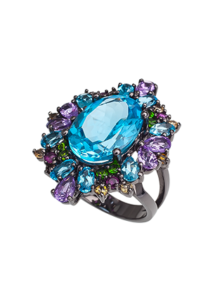 Ring with amethyst and topaz