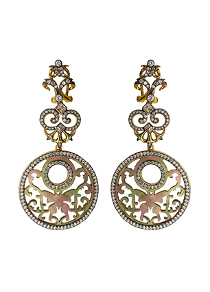 Gold plated silver earrings with mother of pearl, jewellery enamel and cubic zirconia