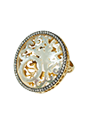 Gold plated silver ring with mother of pearl, jewellery enamel and cubic zirconia