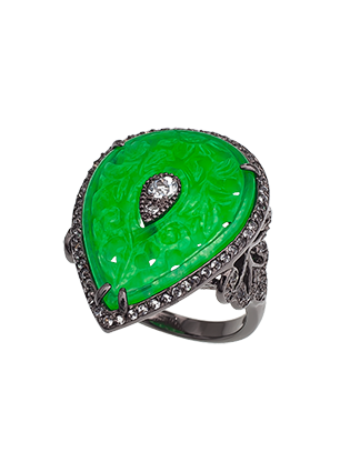 Silver ring with green quartz and topaz