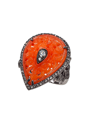 Silver ring with red quartz and topaz