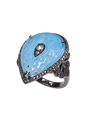 Silver ring with white quartz and topaz