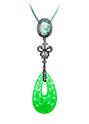 Silver pendant with green quartz and topaz