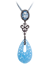 Silver pendant with blue quartz and topaz