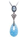 Silver pendant with blue quartz and topaz