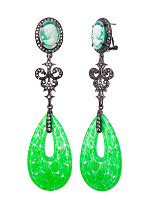 Silver earrings with green quartz and topaz
