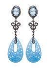 Silver earrings with blue quartz and topaz