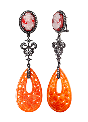 Silver earrings with red quartz and topaz