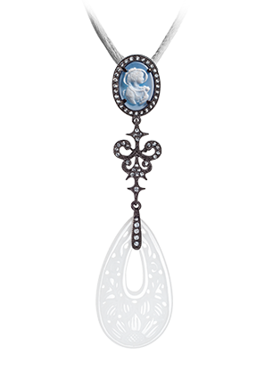Silver pendant with white quartz and topaz