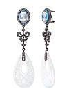 Silver earrings with white quartz and topaz