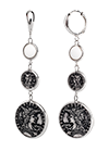 Rhodium plated silver earrings with agate