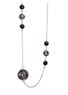 Rhodium plated silver necklace with onyx