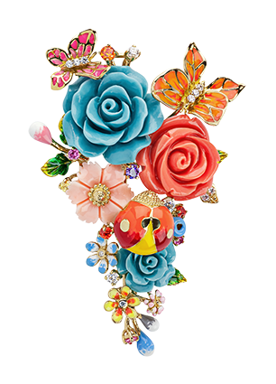 Pendant brooch with jewellery enamel and cubic zirconia
