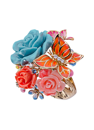 Silver ring with turquoise, coral and  cubic zirconia