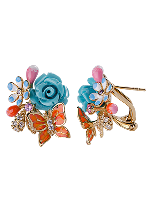 Silver earrings with turquoise, coral and cubic zirconia