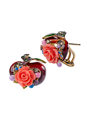 Silver earrings with coral, enamel and cubic zirconia
