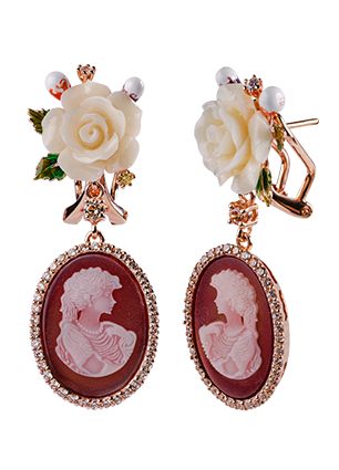 Silver earrings with coral and cubic zirconia